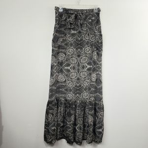 LIL Anthropologie silk fossil imprinted maxi skirt